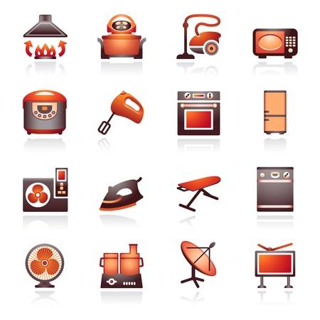 антенны: Бытовая техника, набор 2. Черный и красный серии. Иллюстрация