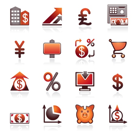 black pictogram: Finance web icons. Black and red series. Illustration