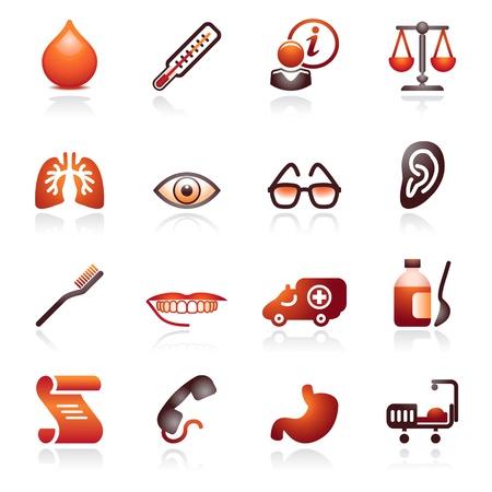 balanza de laboratorio: Iconos de web de medicina. Serie negra y roja.