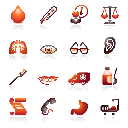spec: Medicine web icons. Black and red series. Illustration
