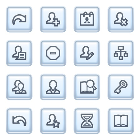Users icons on blue buttons. Stock Vector - 10342855