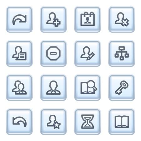 Utilisateurs icônes sur les boutons bleus.