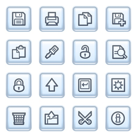 save as: Document icons on blue buttons, set 1.