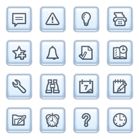 configure: Organizer icons on blue buttons. Illustration