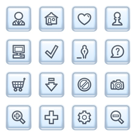 Basic icons on blue buttons. Vector