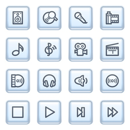 Audio video icons on blue buttons. Stock Vector - 10342852