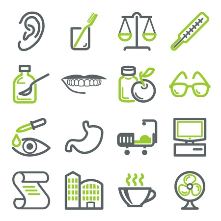 computer health: Healthcare icons Illustration