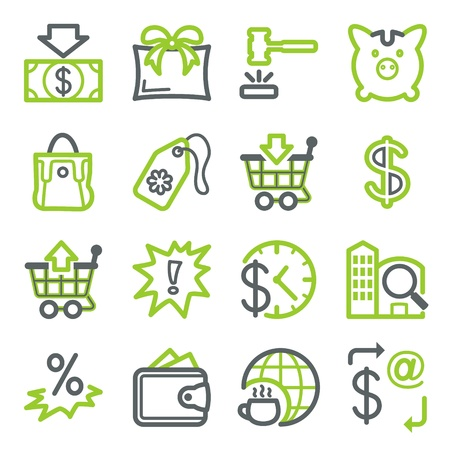 cart cash: Icons for web set 6