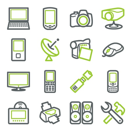 portable player: Electronics icons for web.