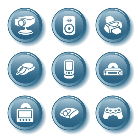 Blue button set 21 Vector