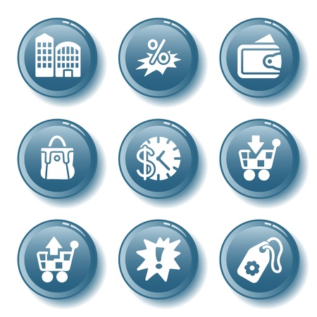 Blue button set 26 Stock Vector - 10401642