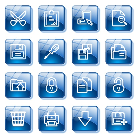 save as: Document web icons, set 1. Blue glass buttons series. Illustration