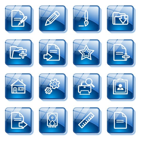 Document web icons, set 2. Blue glass buttons series. Stock Vector - 10401649