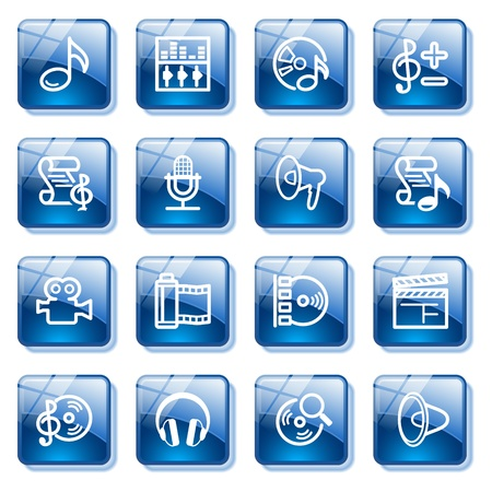 Audio video web icons. Blue glass buttons series. Illustration