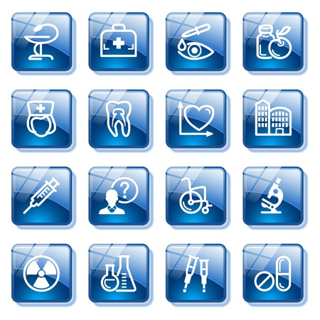 squirt: Medicine web icons, set 2. Blue glass buttons series. Illustration