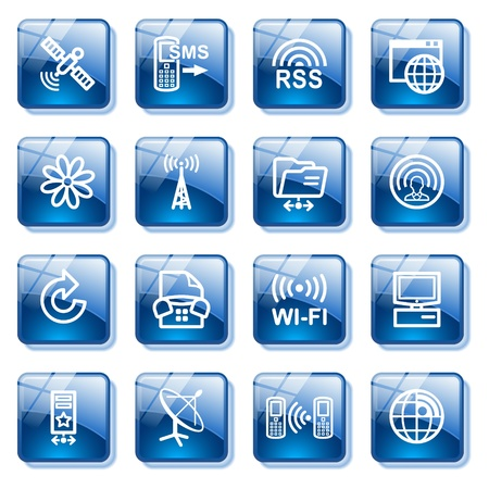 Communication set 2. Blue glass buttons series. Vector