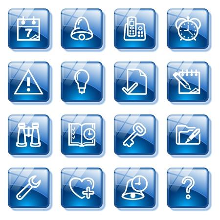 configure: Organizer web icons. Blue glass buttons series.