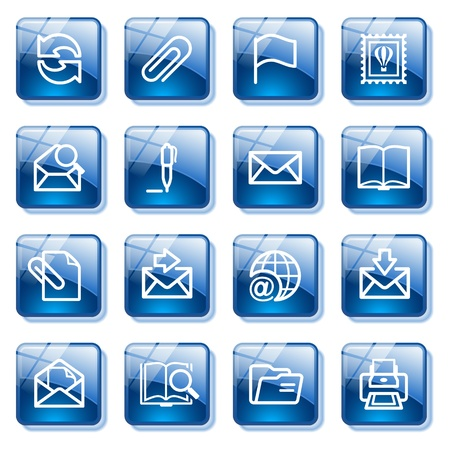 edit icon: E-mail web icons. Blue glass buttons series. Illustration