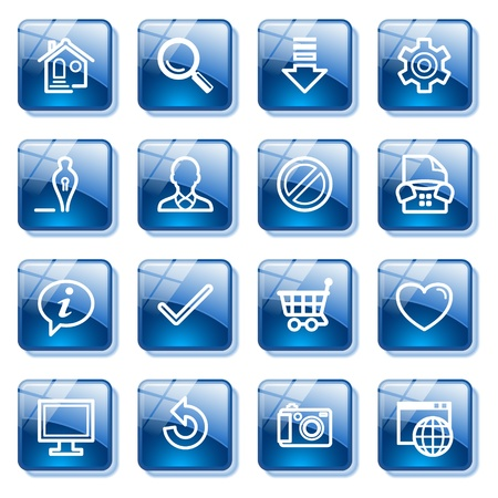 Basic web icons. Blue glass buttons series. Vector