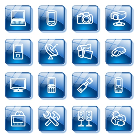 tv set: Electronics icons for web. Blue glass buttons series.