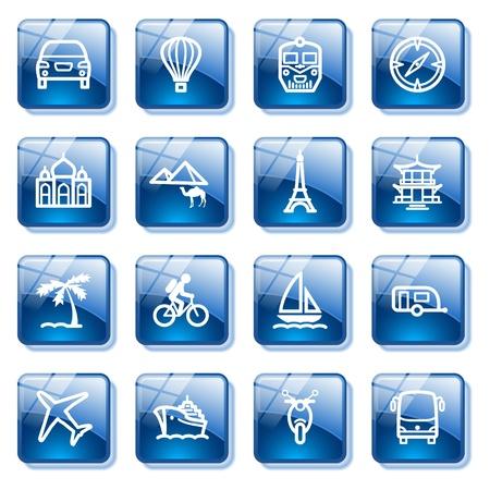 blimp: Iconos para web de viajes. Serie de botones de cristal azul.