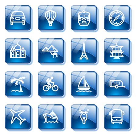 autobus: Travel icons for web. Blue glass buttons series. Illustration