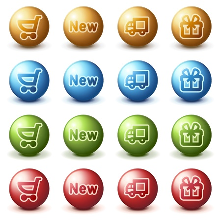 shopping cart button:  Shopping web icons on color buttons.