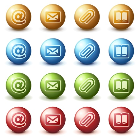 e book: E-mail web icons on color buttons.