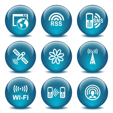 wi fi icon: Blue glass ball 30