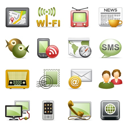 mobile sms: Communication icons. Illustration