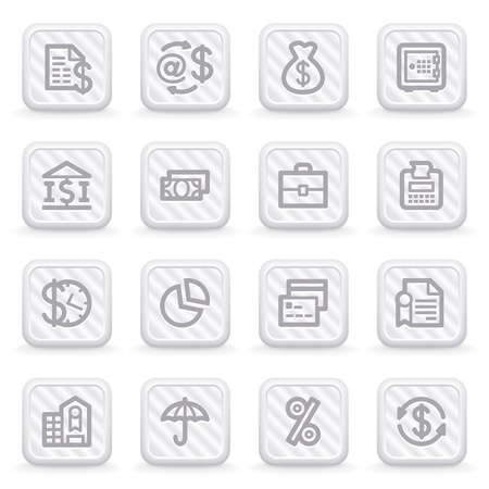 e retailers: Finance icons on gray buttons.