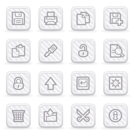 save as: Document web icons on gray buttons, set 1.