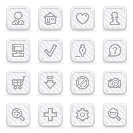 Basic web icons on gray buttons. Vector
