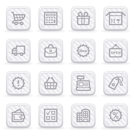 Shopping icons on gray buttons. Stock Vector - 10662976