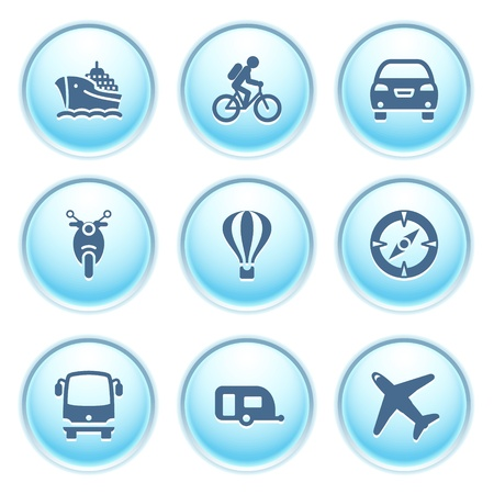 autobus: Icons on blue buttons 20