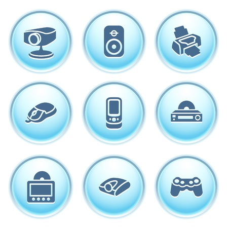 Icons on blue buttons 21 Vector