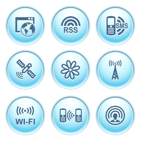 icq: Icons on blue buttons 30 Illustration