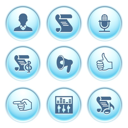 Icons on blue buttons 31 Vector