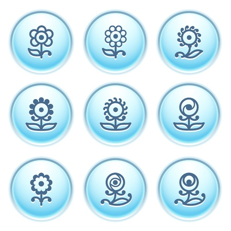 Icons on blue buttons 32 Stock Vector - 10868705