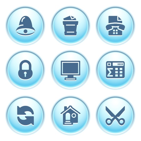 Icons on blue buttons 7 Stock Vector - 10868687