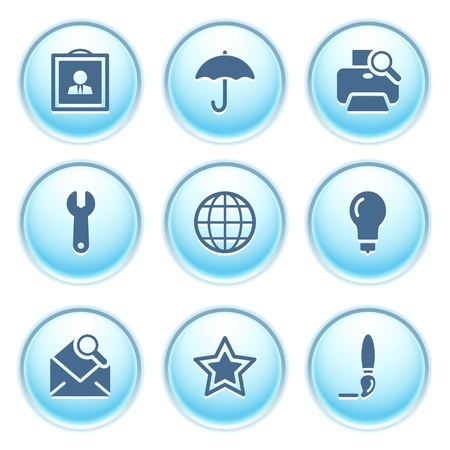 Icons on blue buttons 9 Vector