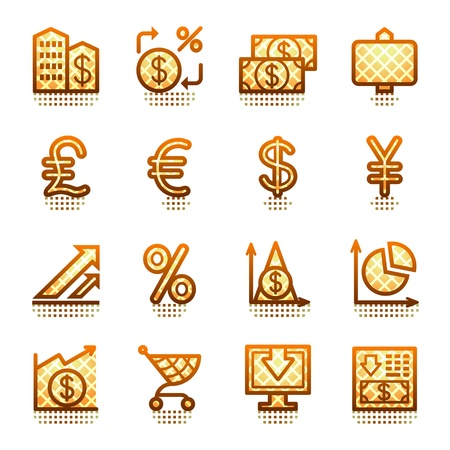 Finance web icons. Brown series. Stock Vector - 11298519