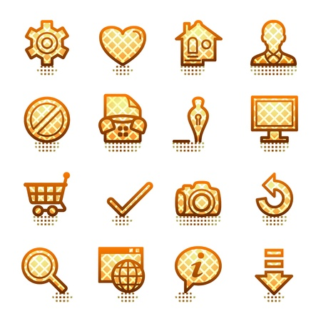 Basic web icons. Brown series. Vector