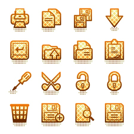 save as: Document web icons, set 1. Brown series.