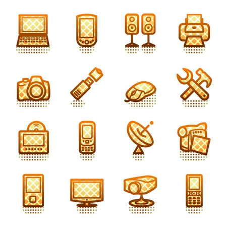 Electronics icons for web. Brown series. Stock Vector - 11298520