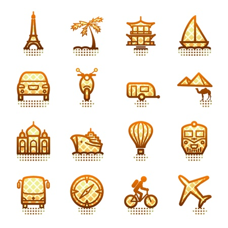 Travel web icons. Brown series. Stock Vector - 11298525