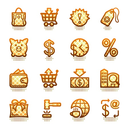 Commerce web icons. Brown series. Illustration
