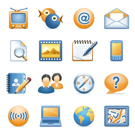 telephone icons: Iconos para web blue series de naranja 1