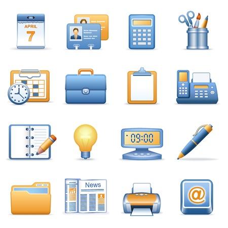 rekenmachine: Iconen voor web blauw oranje serie 2 Stock Illustratie