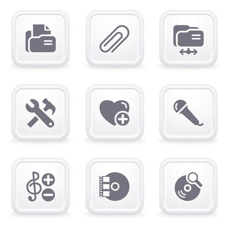 Internet icons on gray buttons 11 Stock Vector - 12066054